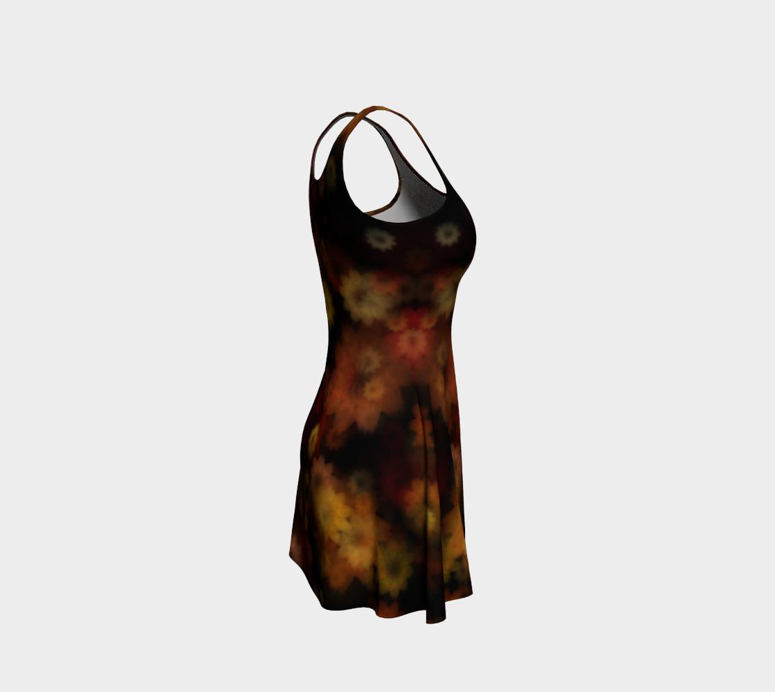 Aperçu de Moody Red Gold Floral Flare Dress #4