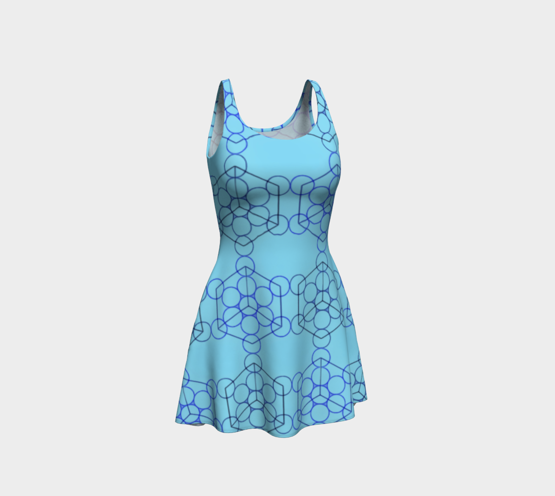 Geometric Tiling Blue Flare Dress preview