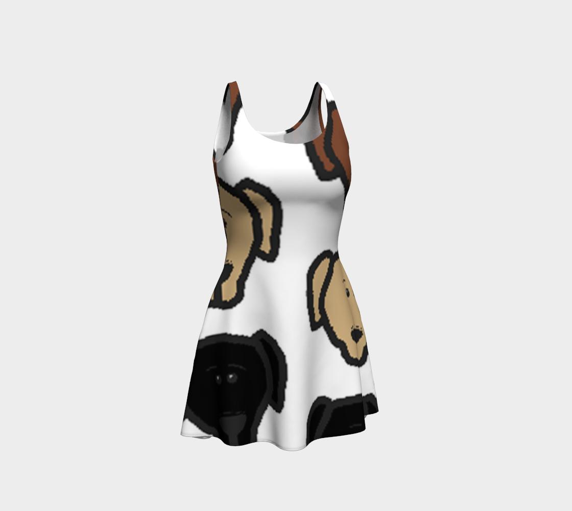 Labrador Retriever all 3 colors cartoon heads flare dress preview