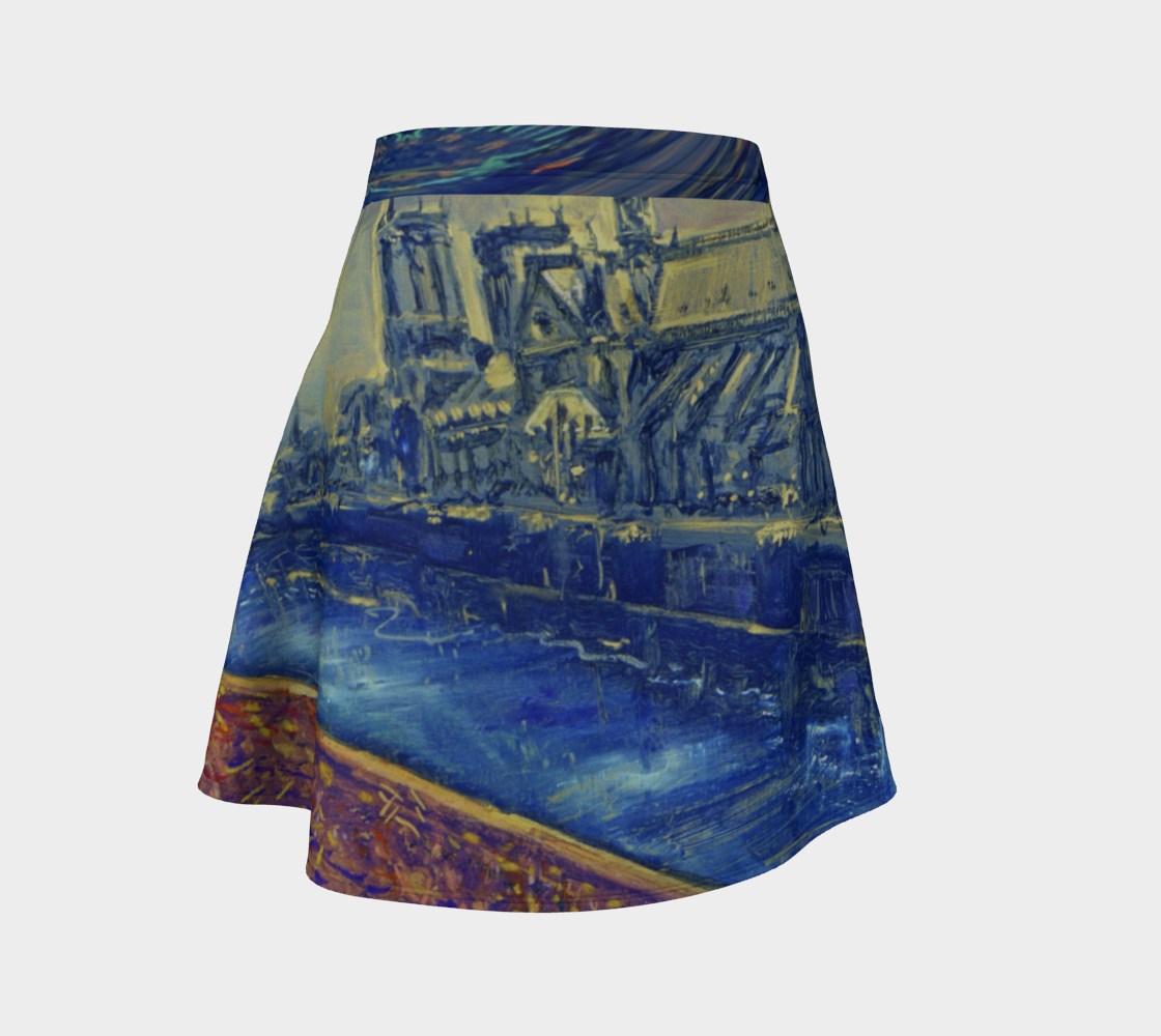 """""""Notre Dame Tribute: 4-15-19 by Lowell S.V. Devin"""" / Commemorative Flare Skirt preview"""