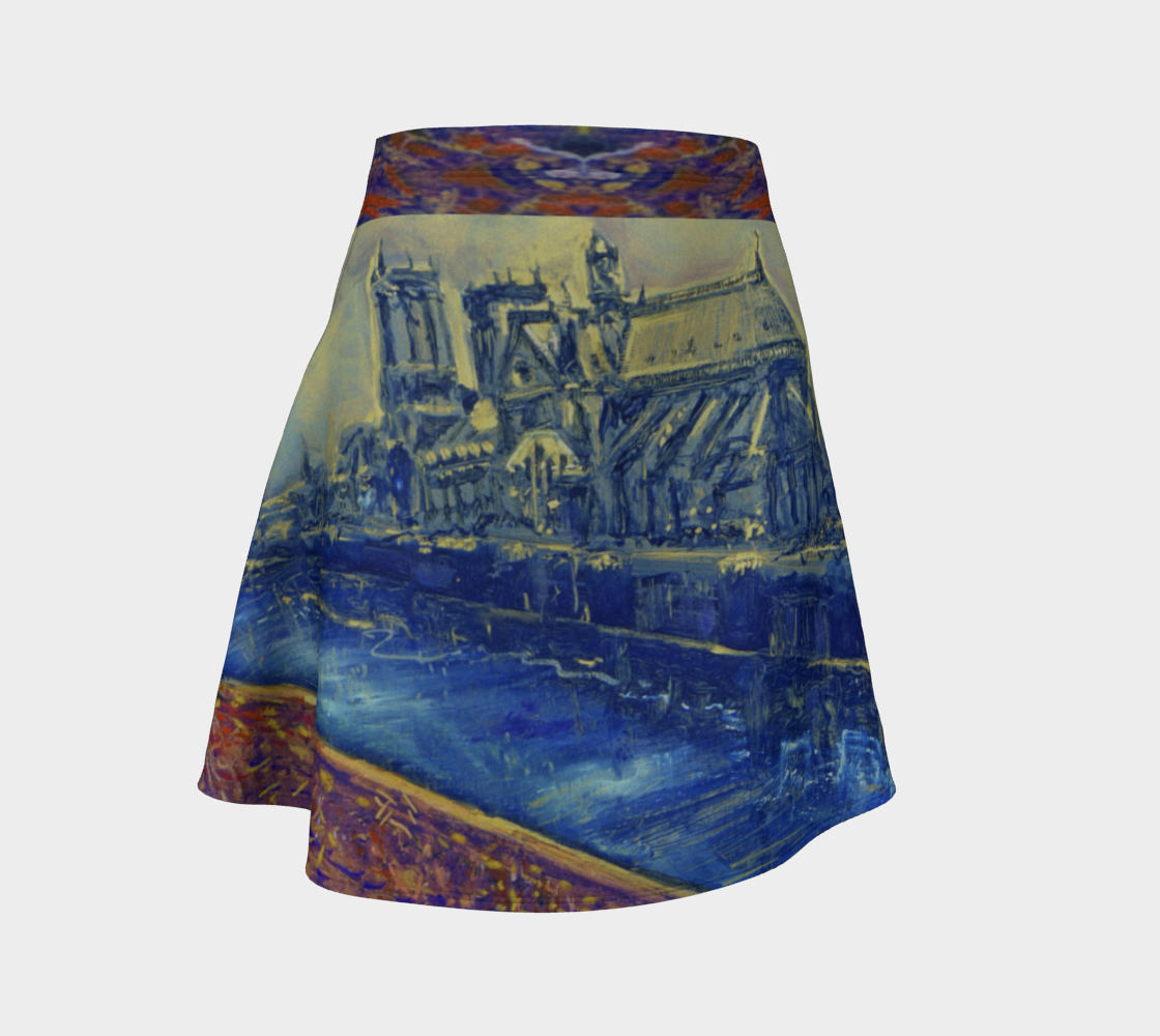 """""""Notre Dame Tribute: 4-15-19"""" by Lowell S.V. Devin / Commemorative Flare Skirt preview"""