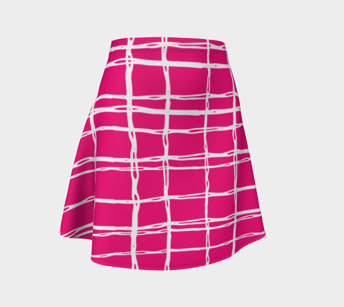 Pink and White Geometric Line Pattern Flare Skirt preview