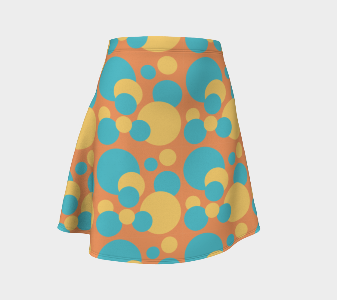 Retro Flare Skirt in Blue and Yellow Dot Pattern preview