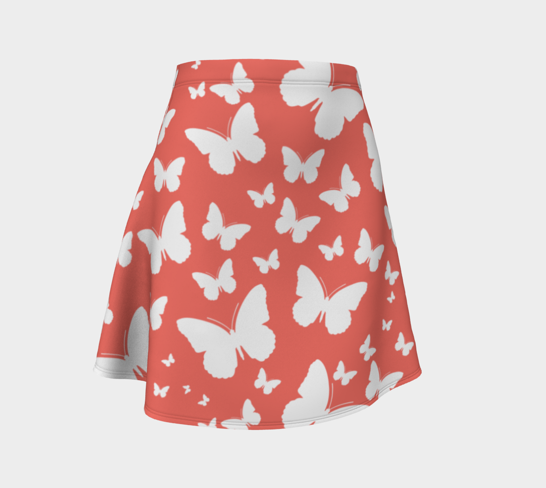 Butterflies in Coral and White Flare Skirt preview