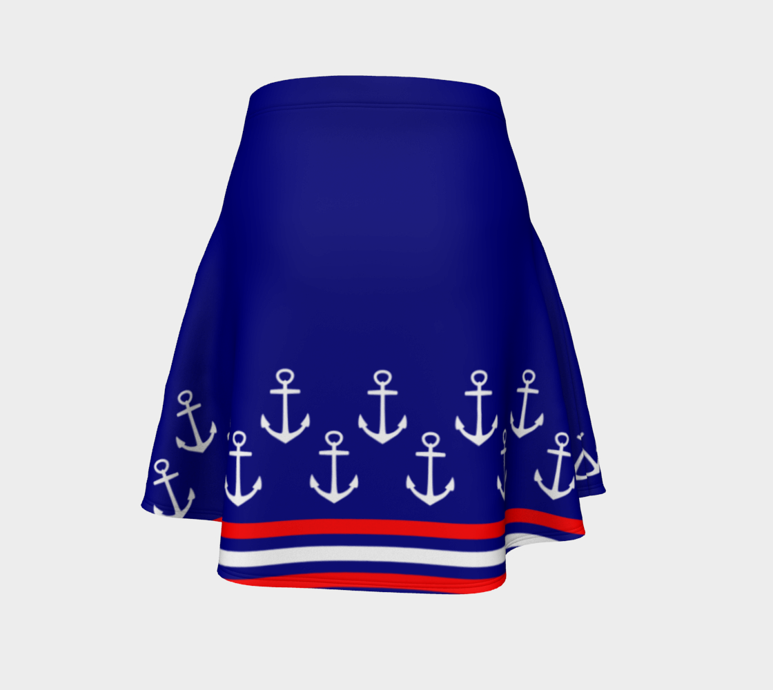 Blue and Red Nautical Stripe Anchor Flare Skirt preview #4