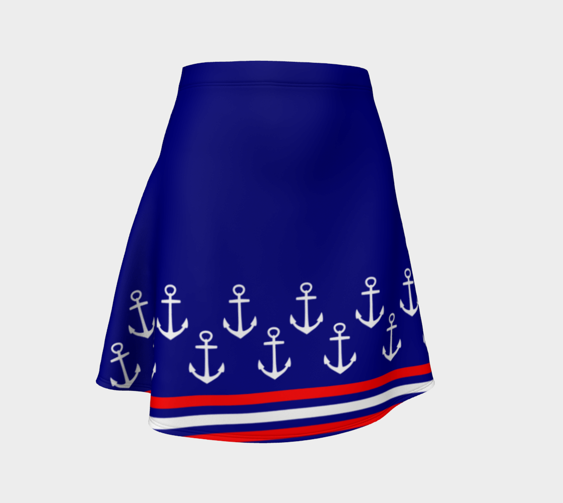 Blue and Red Nautical Stripe Anchor Flare Skirt preview