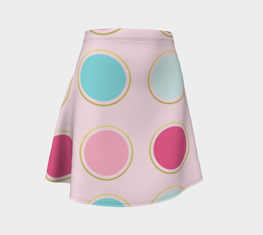 Pink and Teal Polka Dot Flare Skirt preview