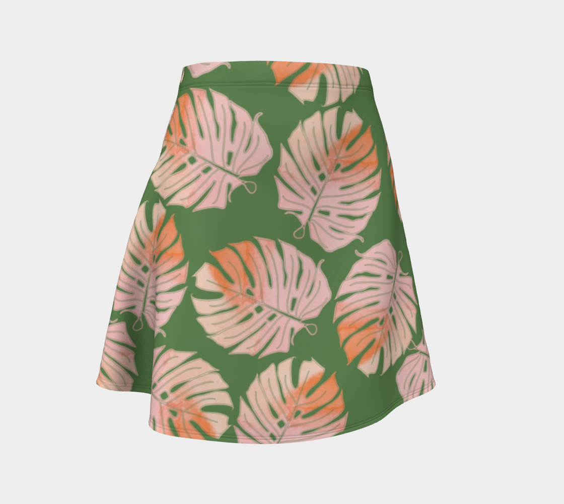 Tropical Leafs in Green and Coral Flare Skirt preview