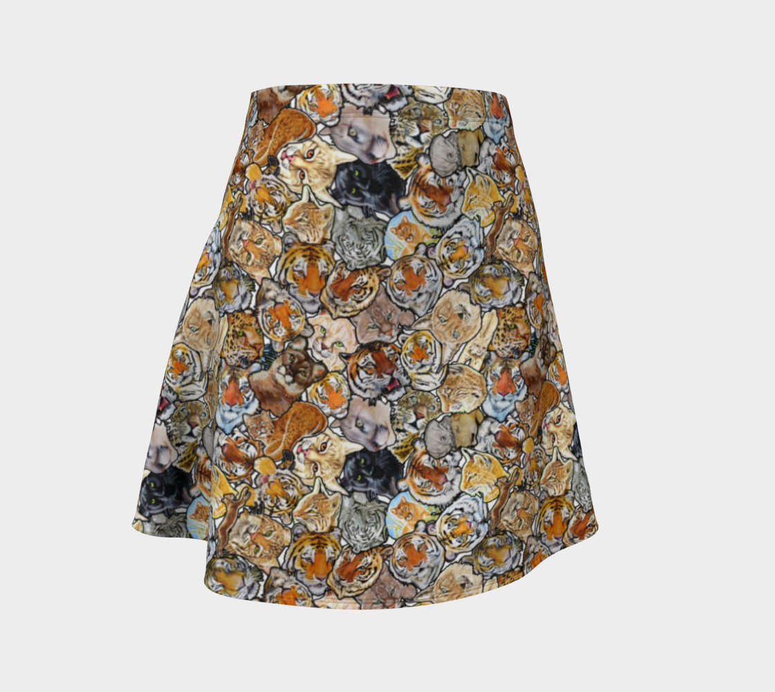 Big Cat Collage - flare skirt preview