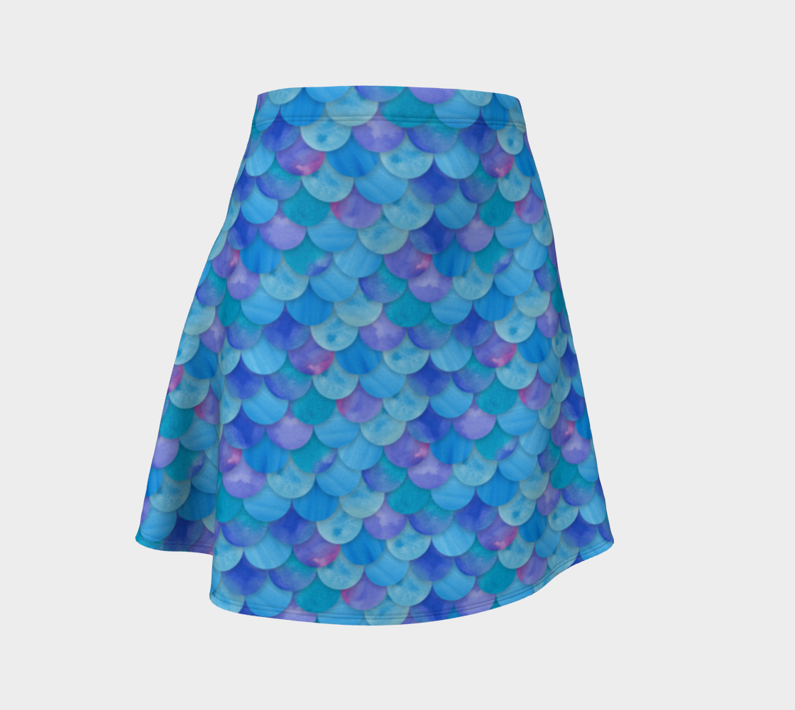 Blue Mermaid Flare Skirt 3D preview
