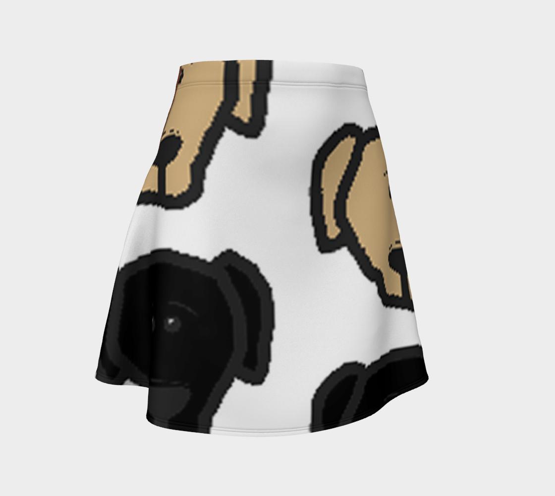 Labrador Retriever all 3 colors cartoon heads flare skirt preview