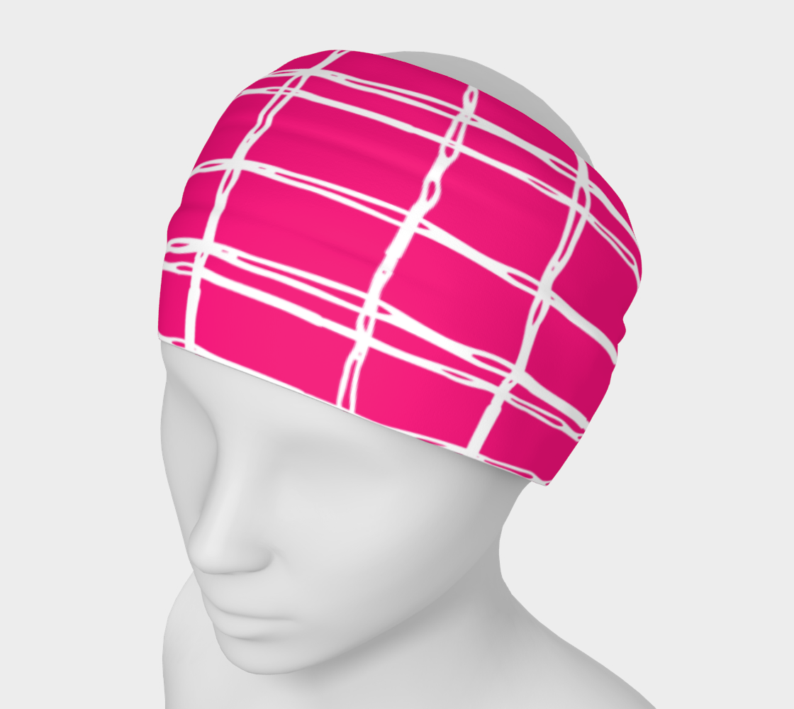 Pink and White Geometric Line Pattern Headband preview
