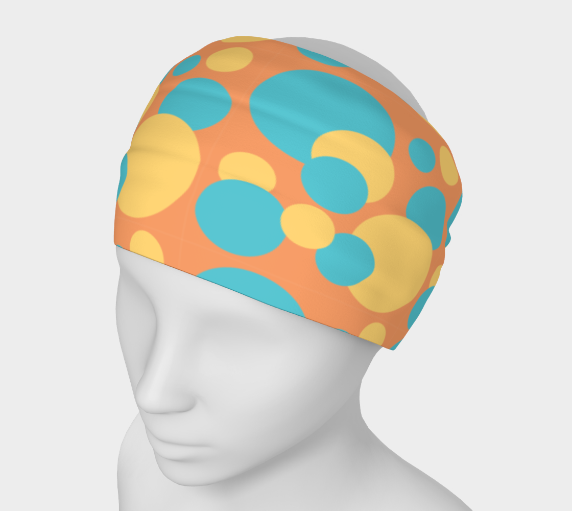 Retro Headband in Blue and Yellow Dot Pattern preview