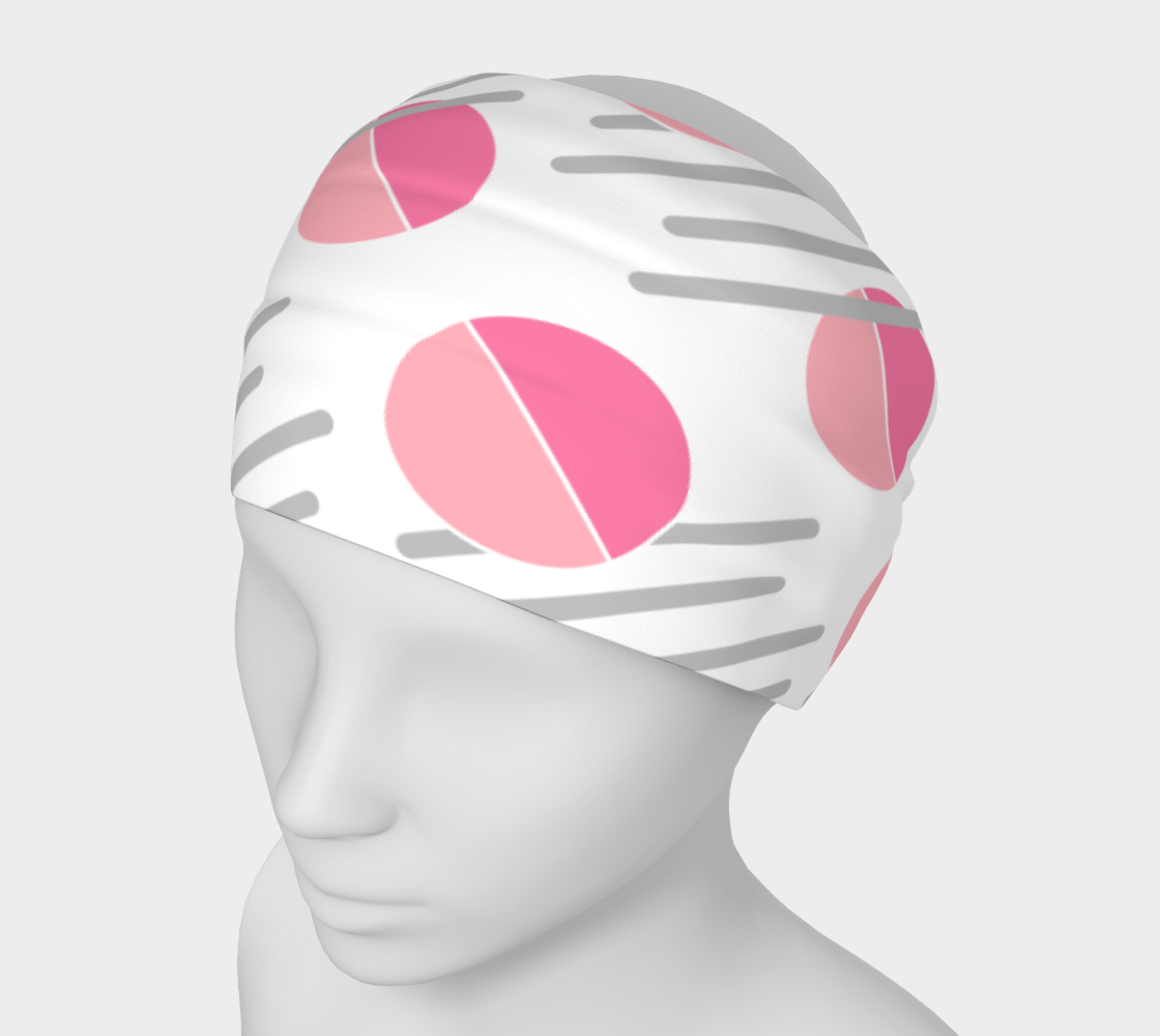 Modern Pink Circle Grey Line Abstract Headband preview