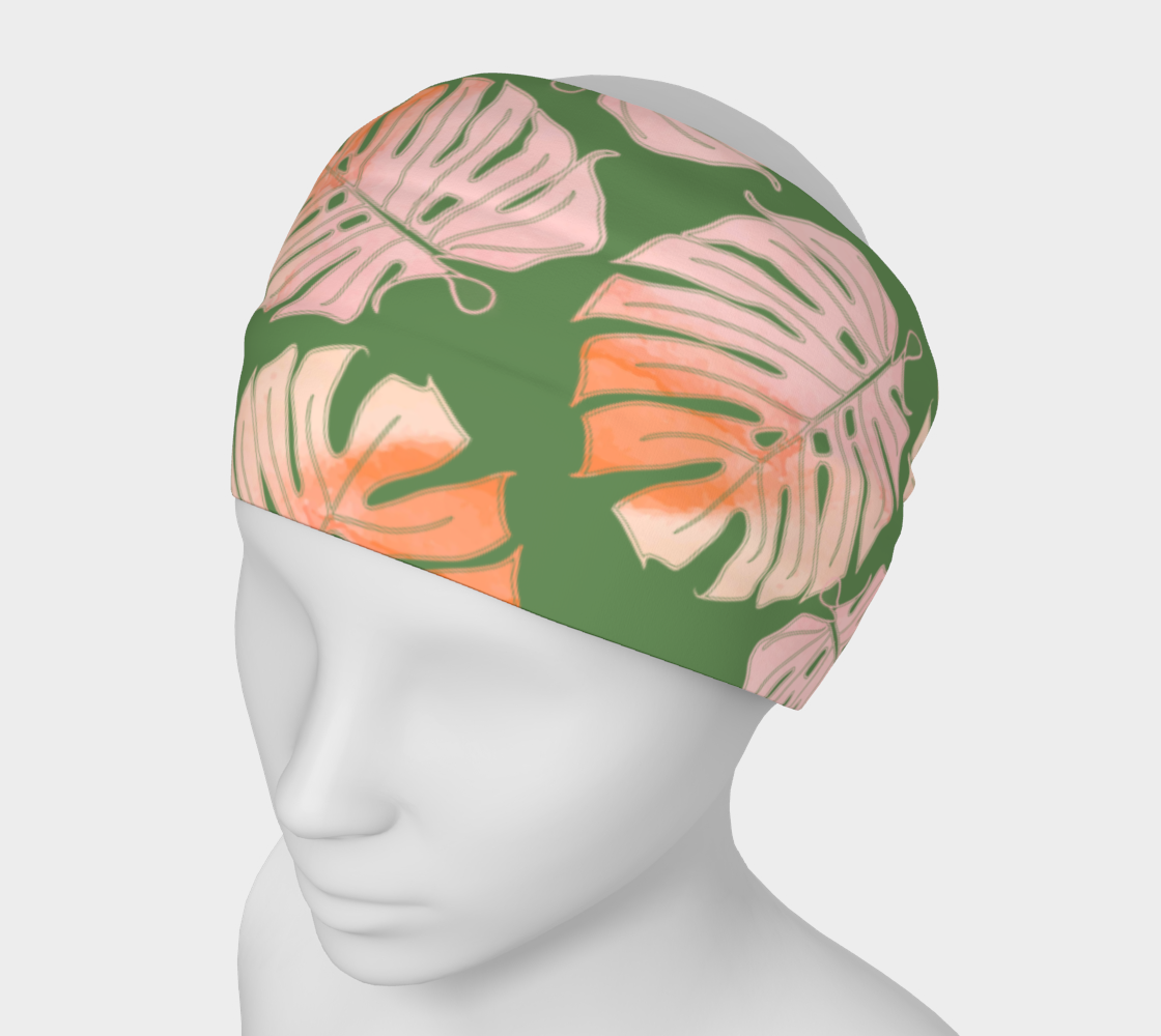 Tropical Leafs in Green and Coral Headband preview