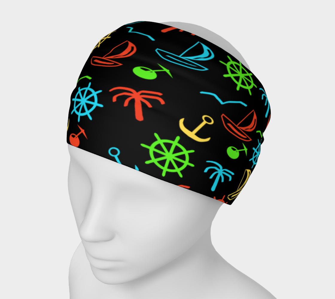 Collored sea pattern on black Headband aperçu