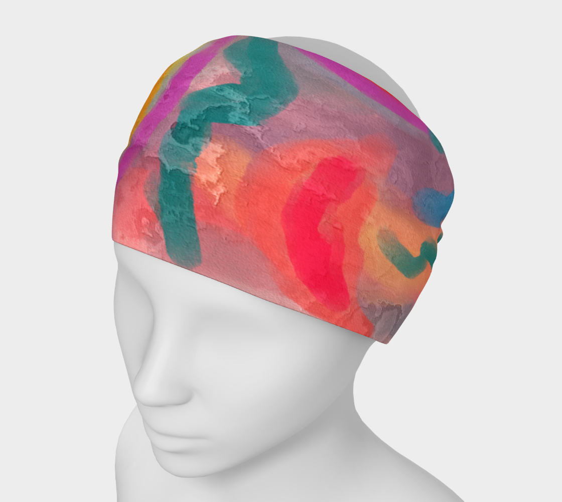 Aperçu de Spring Colorful Abstract Digital Painting Headband #1
