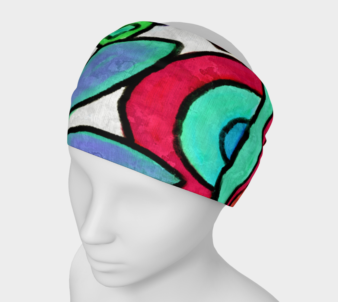 Aperçu de Funky Garden Abstract Digital Print Headband #1