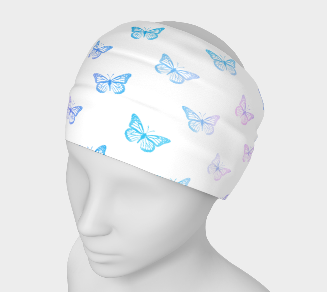 Butterflies Pattern in Blue White PInk preview