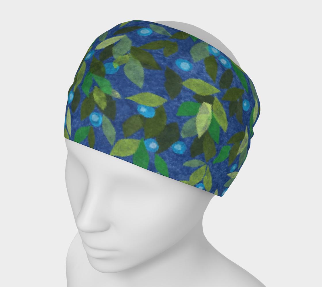 Aperçu de Blue Berries Green Leaves Papercut Pattern Headband
