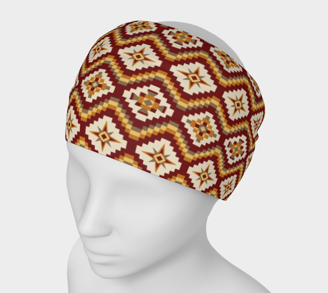Aztec Tribal Headband in Burgundy, Brown and Mustard preview