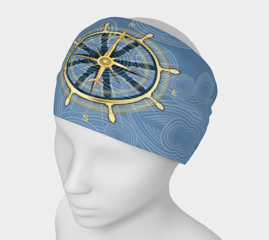 Compass Rose Nautical Headband Blue With Swirls preview