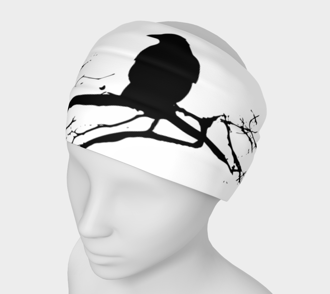 Raven Buff Gaiter Head Band Black on White preview
