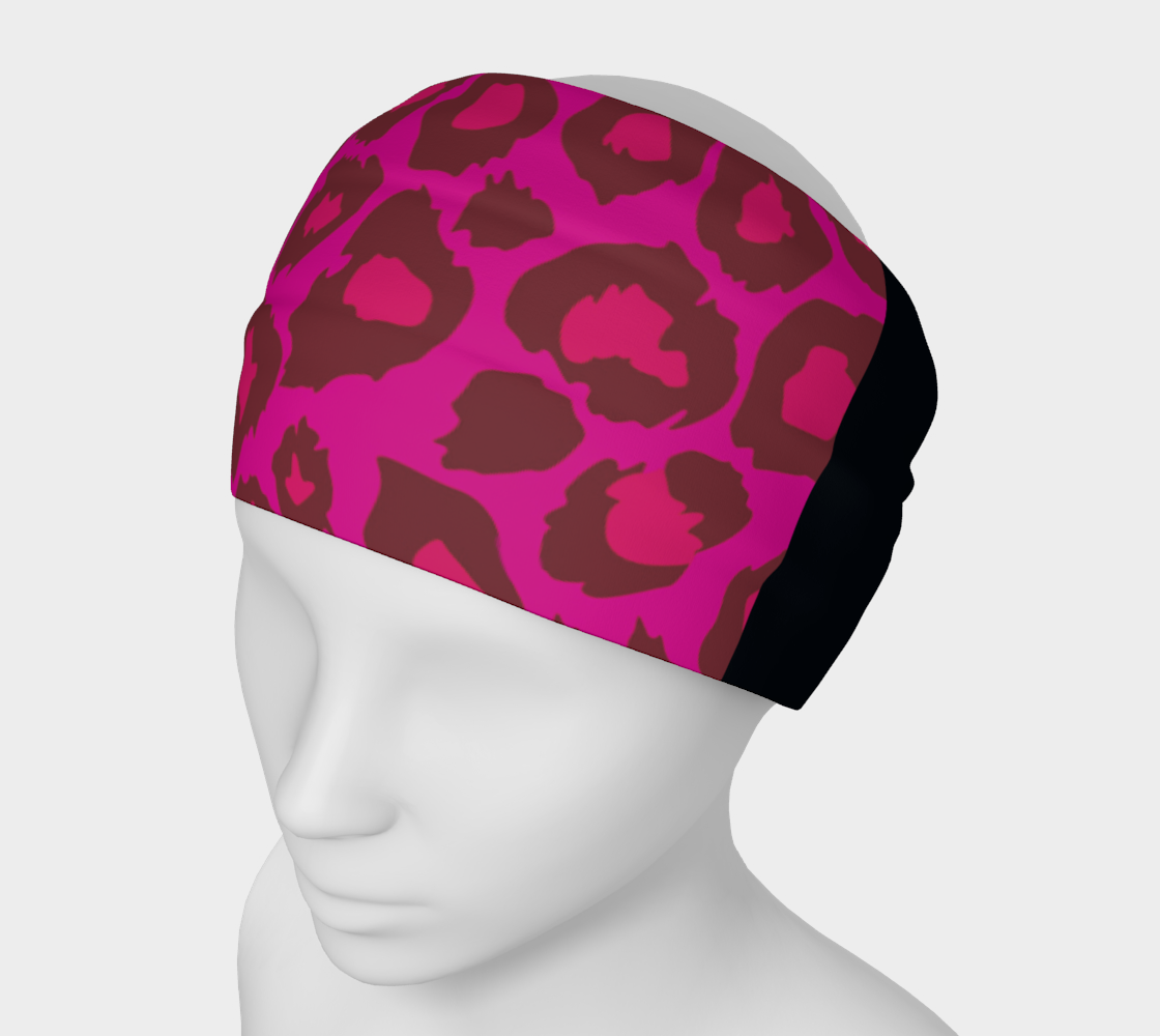 Leopard Headband Scarf Pink + Black preview