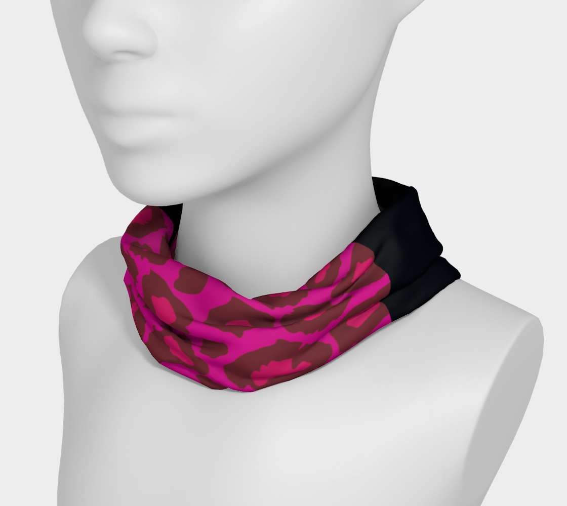 Leopard Headband Scarf Pink + Black preview #3