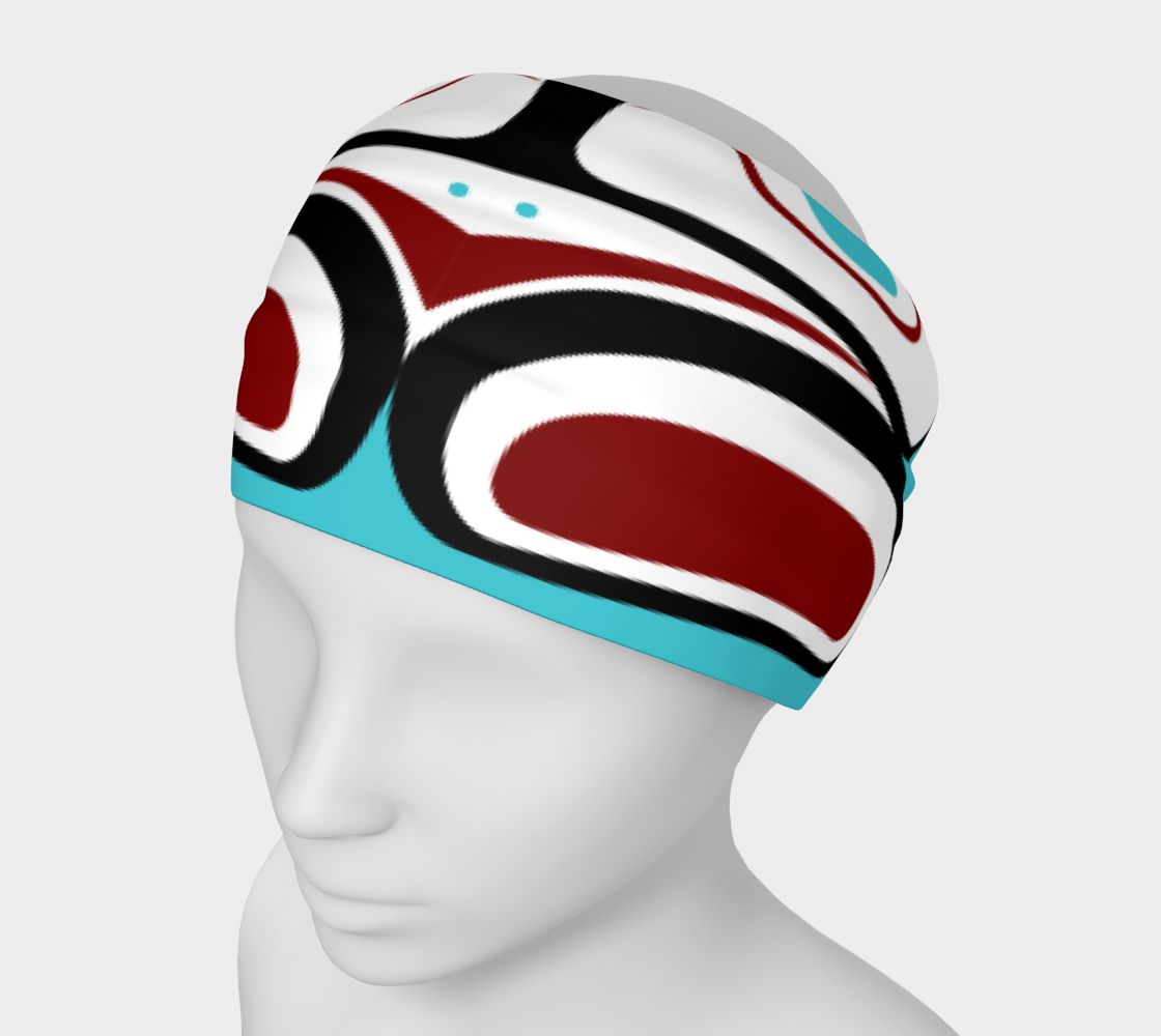 Northwest Totem Art Buff Gaiter Face Cover Headband Teal Background preview #1