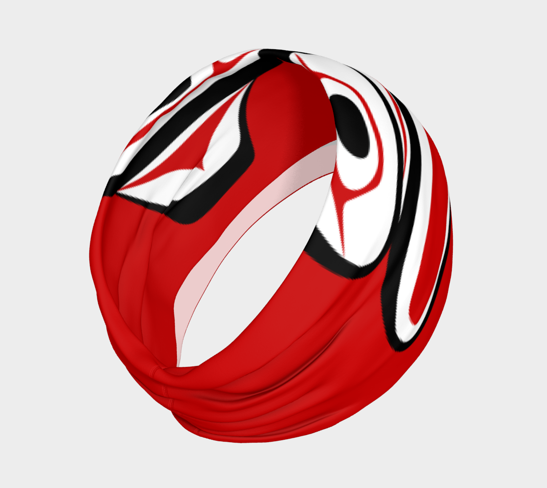 Northwest Totem Art Buff Gaiter Face Cover Headband Red Background preview #2