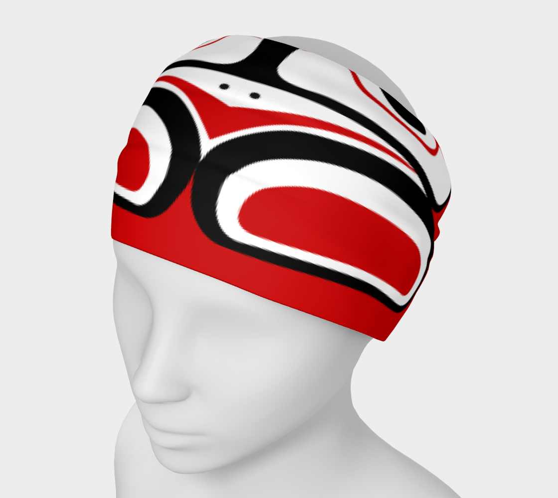 Northwest Totem Art Buff Gaiter Face Cover Headband Red Background preview