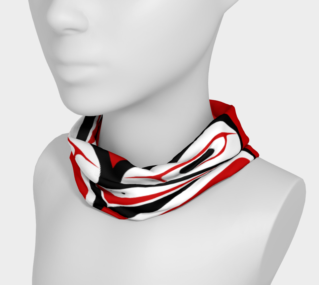 Northwest Totem Art Buff Gaiter Face Cover Headband Red Background preview #3