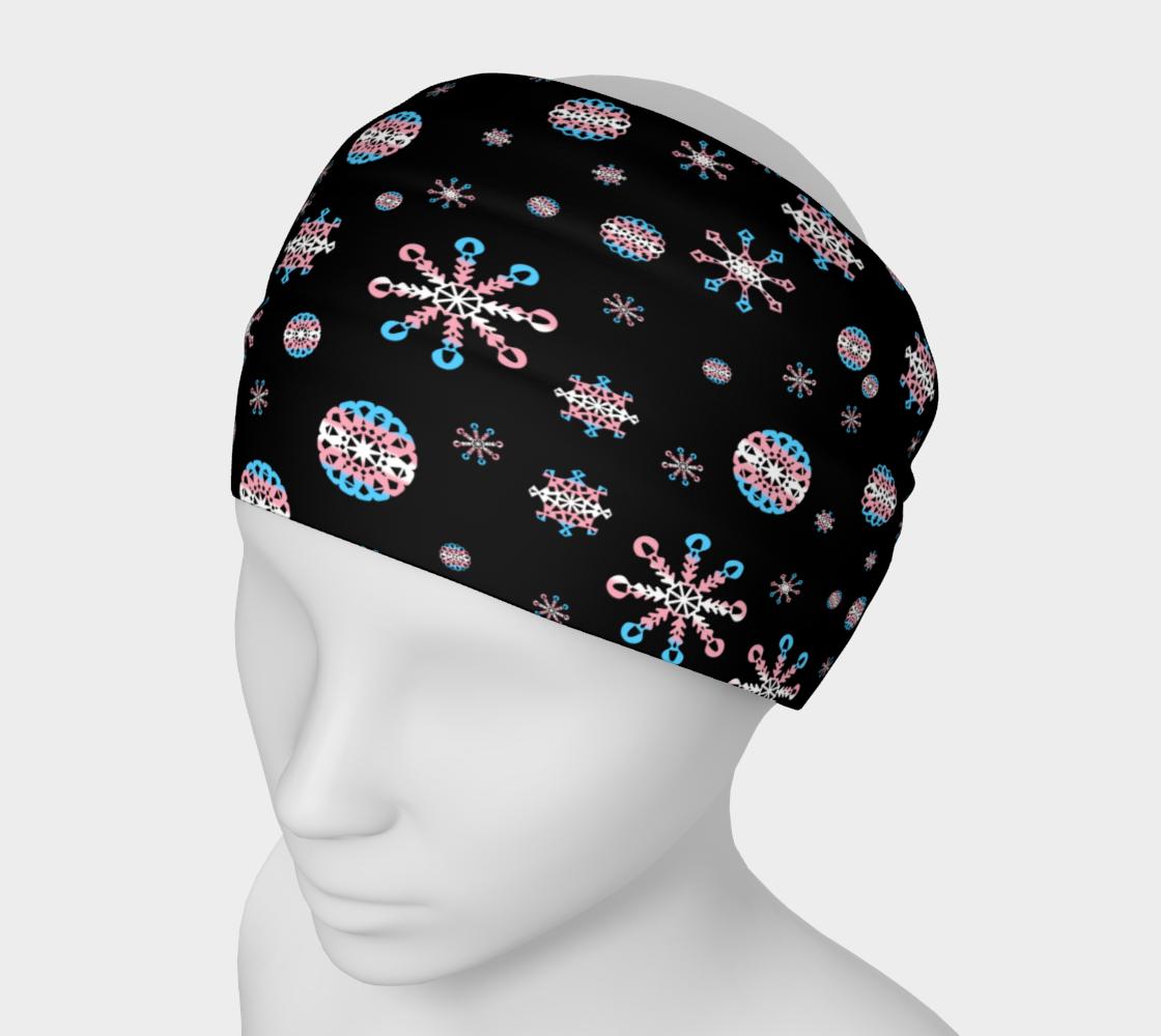 Trans Pride Snowflake Winter Pattern (black bg) preview