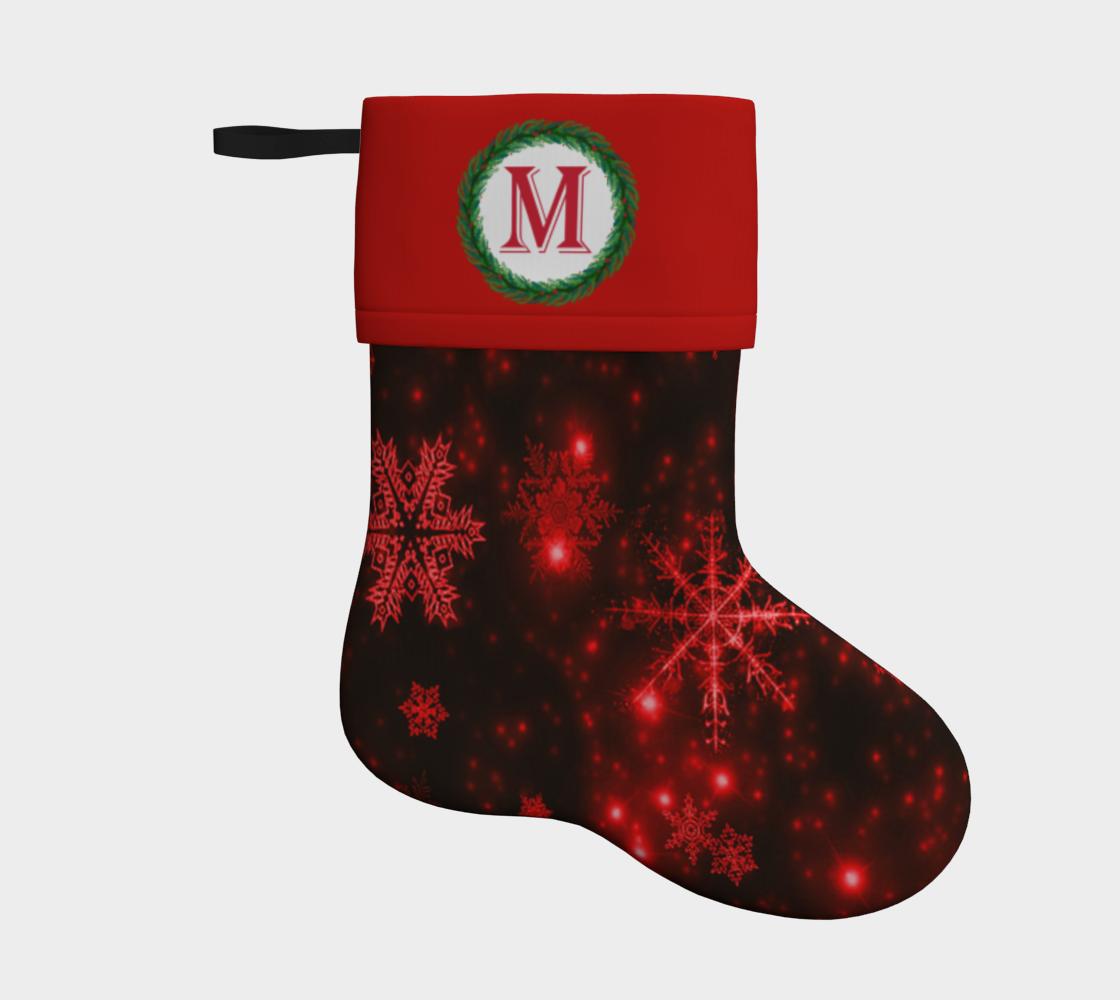 Aperçu de Monogram M Deep Red and Bright Snowflakes Christmas Stocking