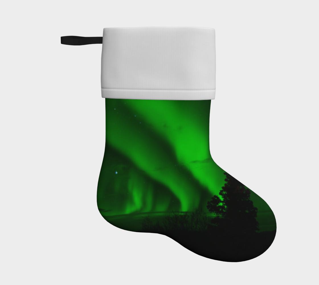 aurora borealis green holiday christmas stocking preview