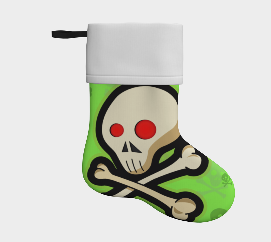 cartoon skull on green holiday christmas stocking preview