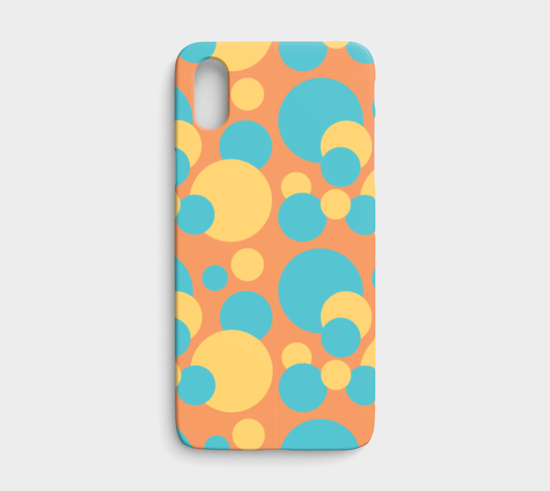 Retro IPhone X/XS Case in Blue and Yellow Dot Pattern preview