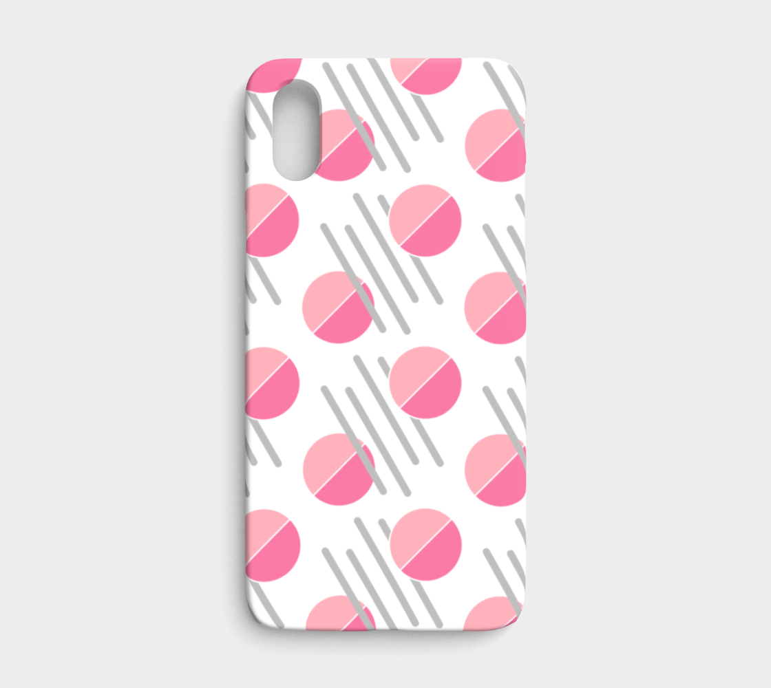 Modern Pink Circle Grey Line Abstract IPhone X/XS Case preview