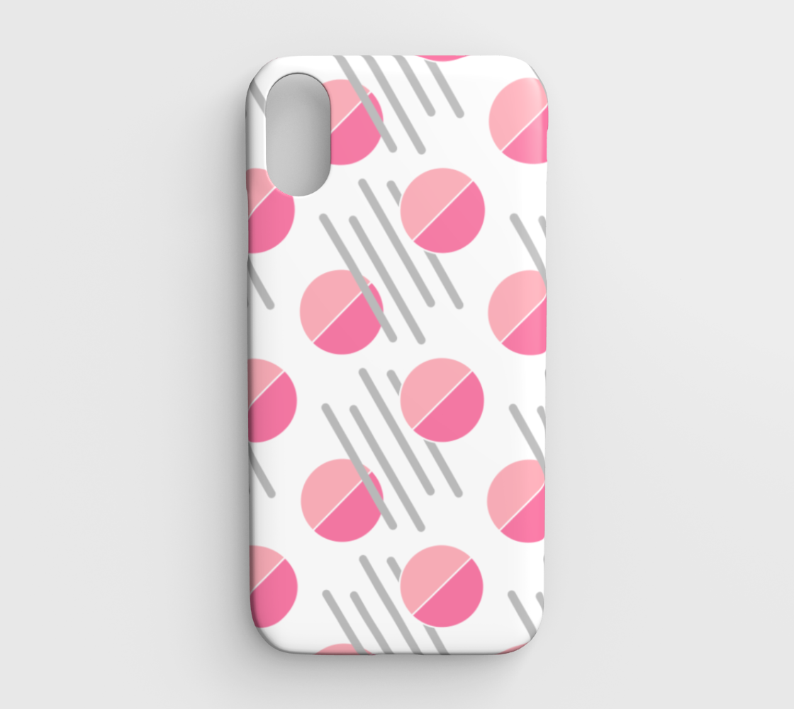 Modern Pink Circle Grey Line Abstract IPhone XR Case preview