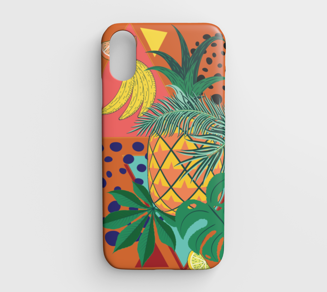 Geometric pineapple with tropical leaves and fruits retro design preview