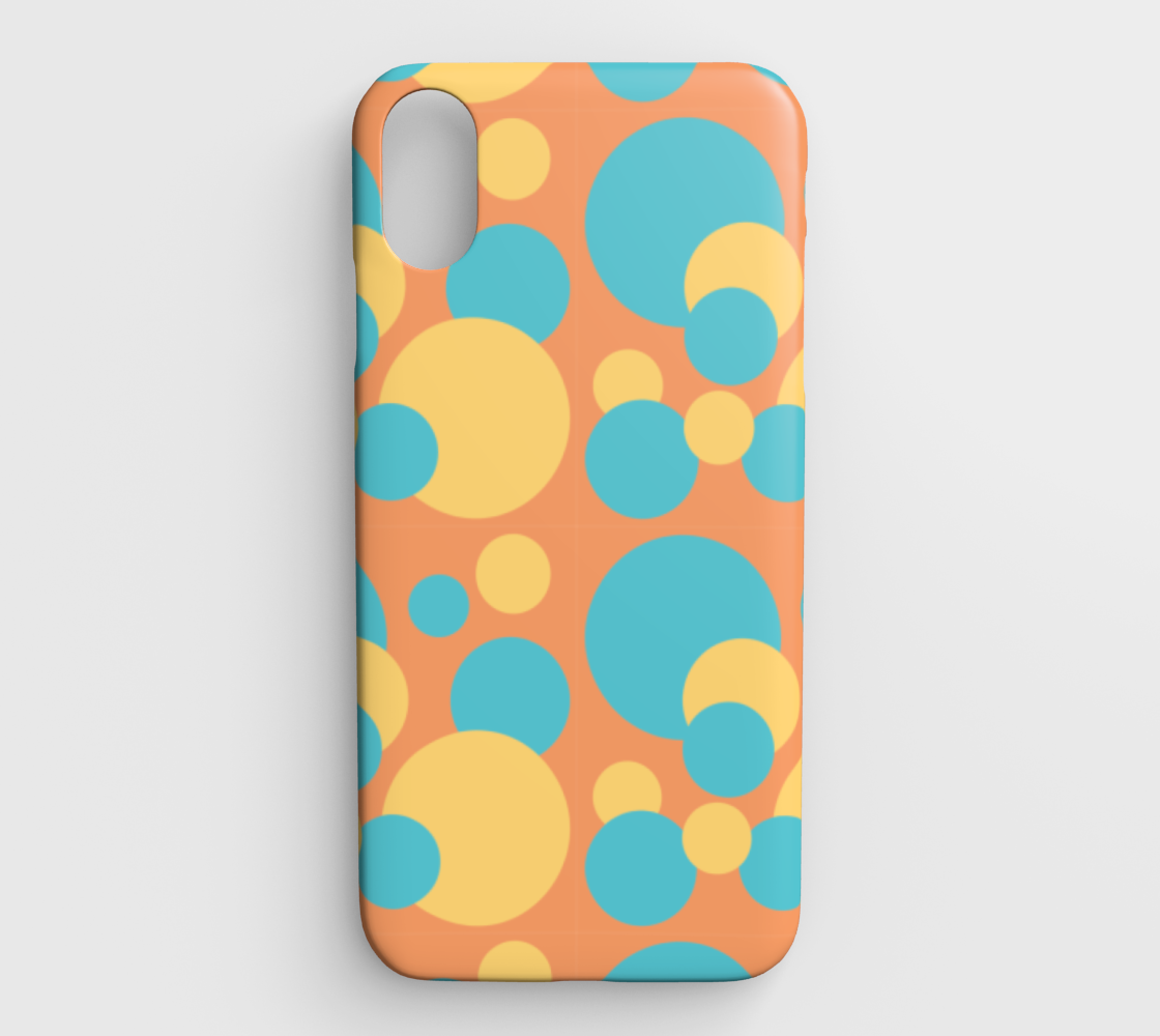 Retro IPhone XS Max Case in Blue and Yellow Dot Pattern preview