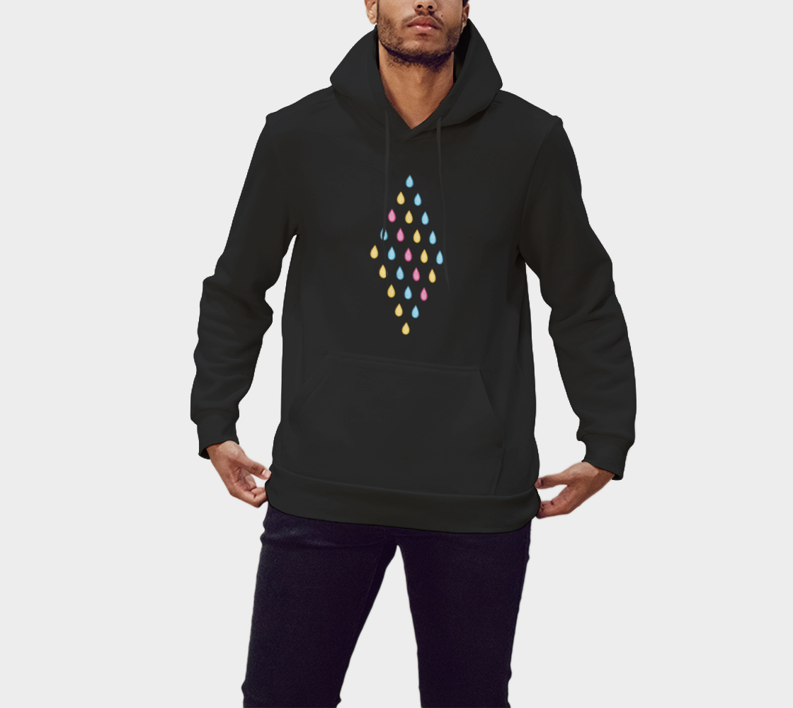 Pink, yellow and blue raindrops Pullover Hoodie preview