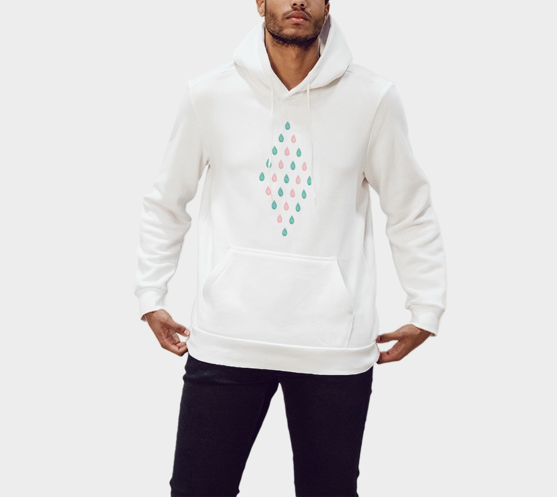 Teal blue and coral pink raindrops Pullover Hoodie preview