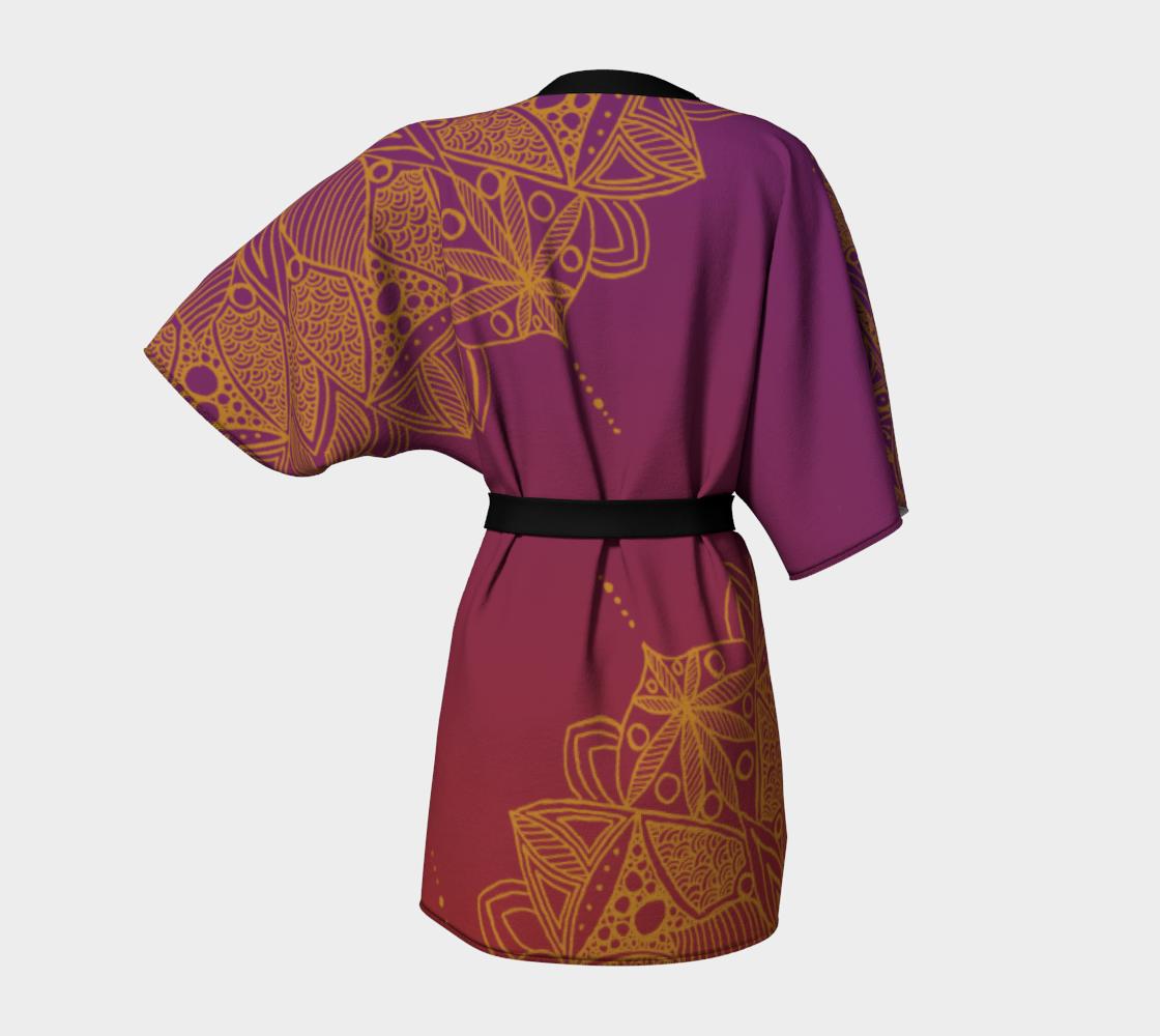 Red and Purple Mandala Pattern Kimono Robe preview #4