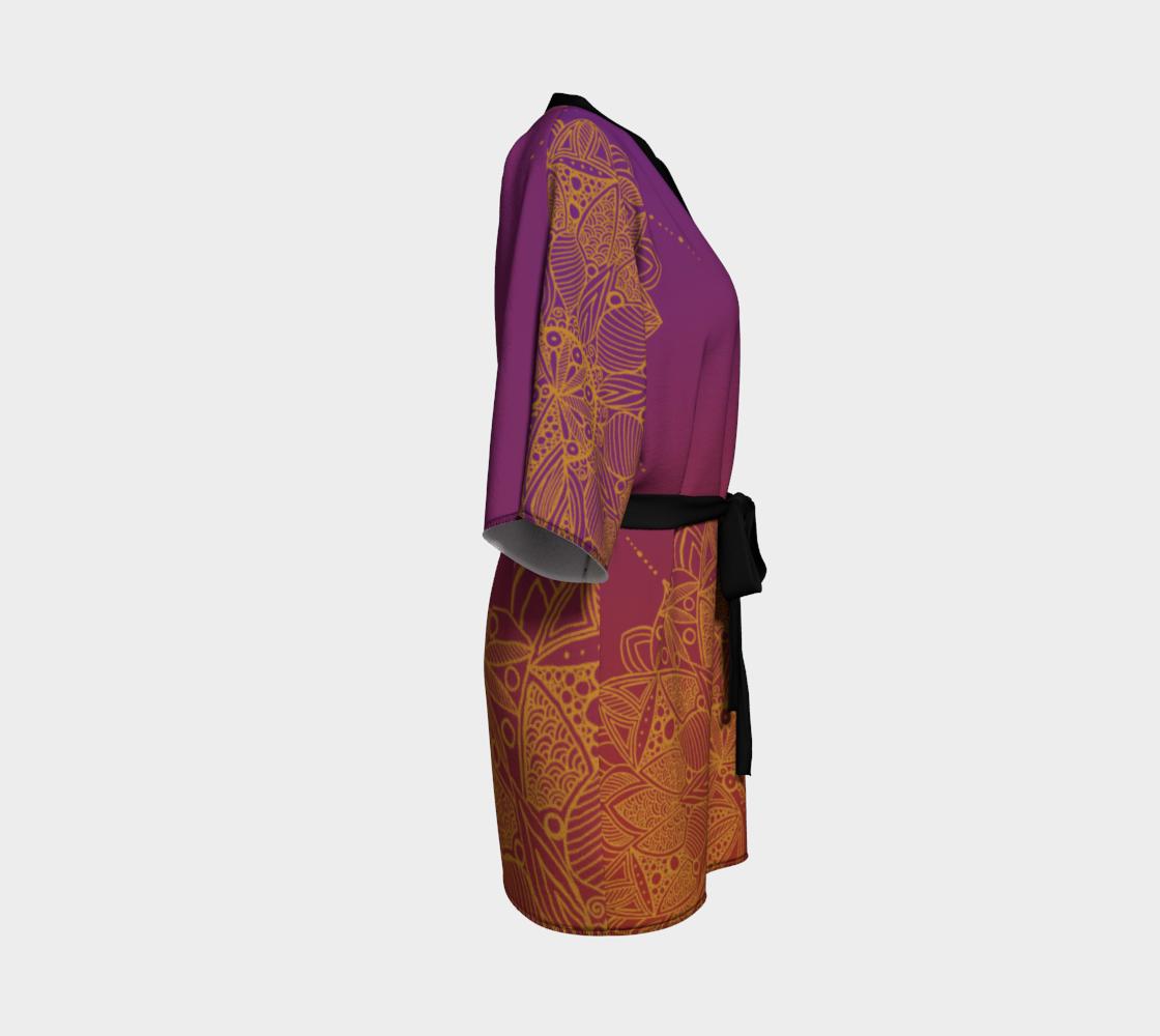 Red and Purple Mandala Pattern Kimono Robe preview #3