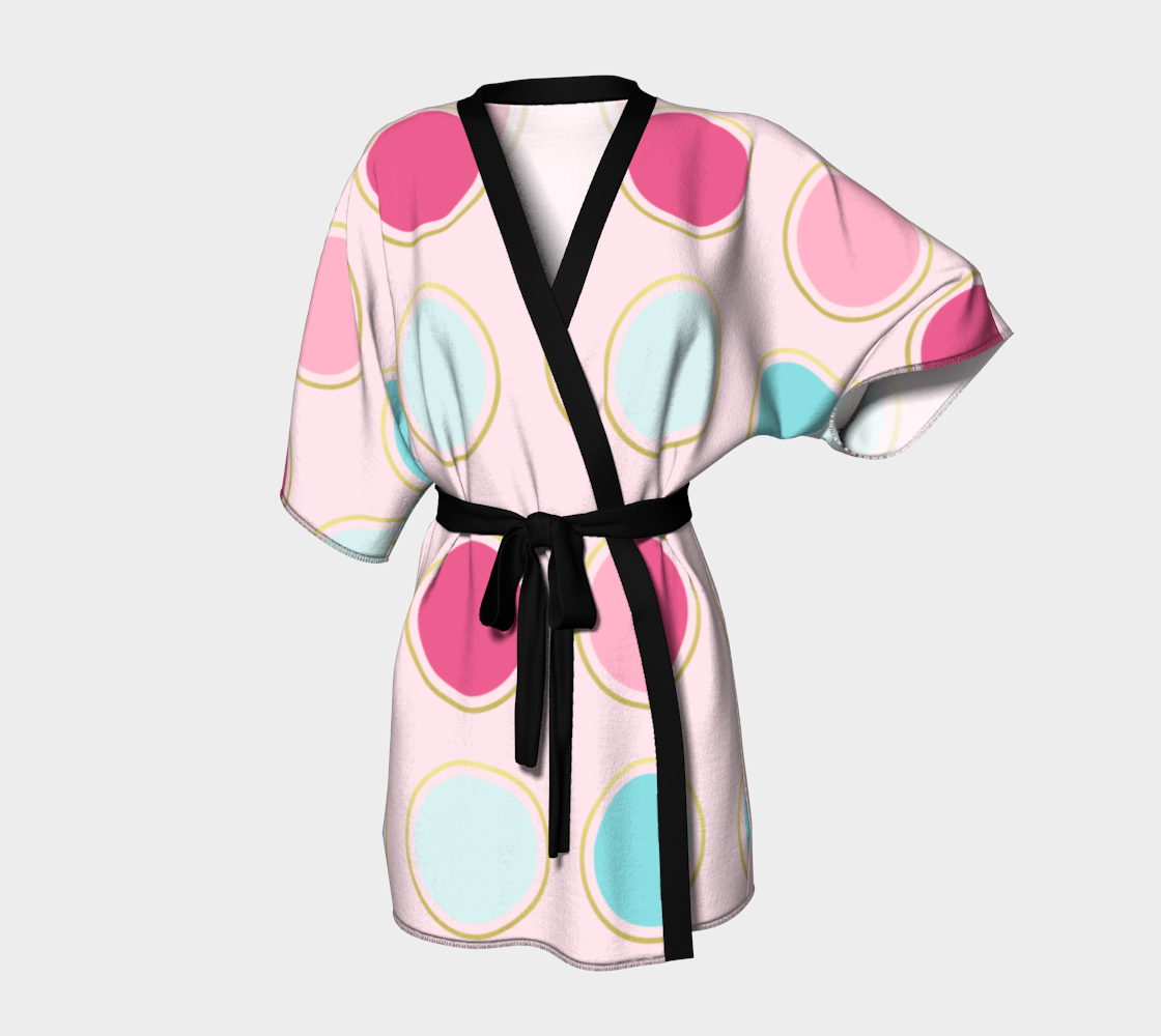Pink and Teal Polka Dot Kimono Robe preview