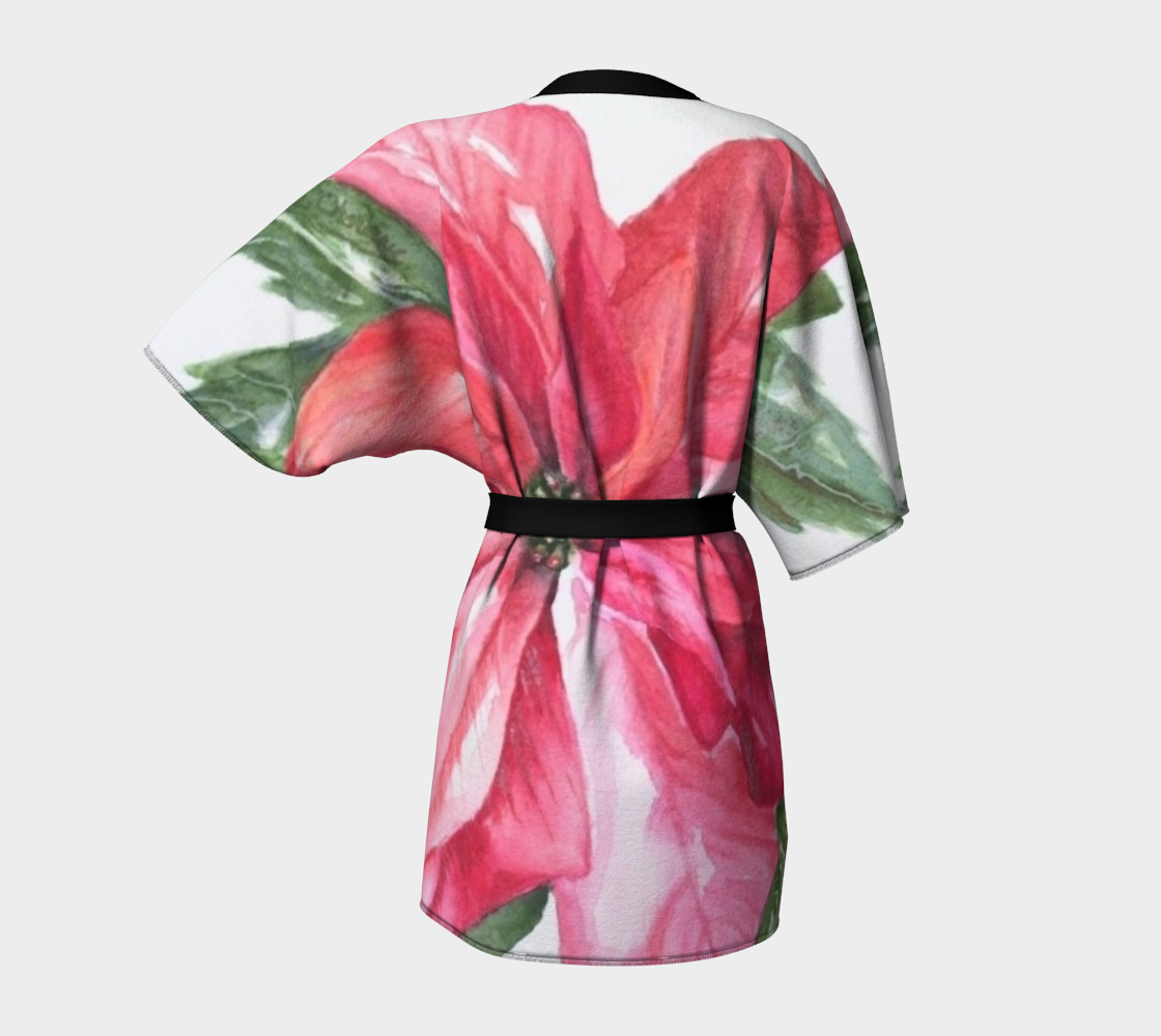 Red Poinsettia Kimono Robe preview #4