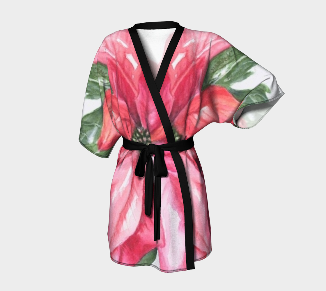 Red Poinsettia Kimono Robe preview