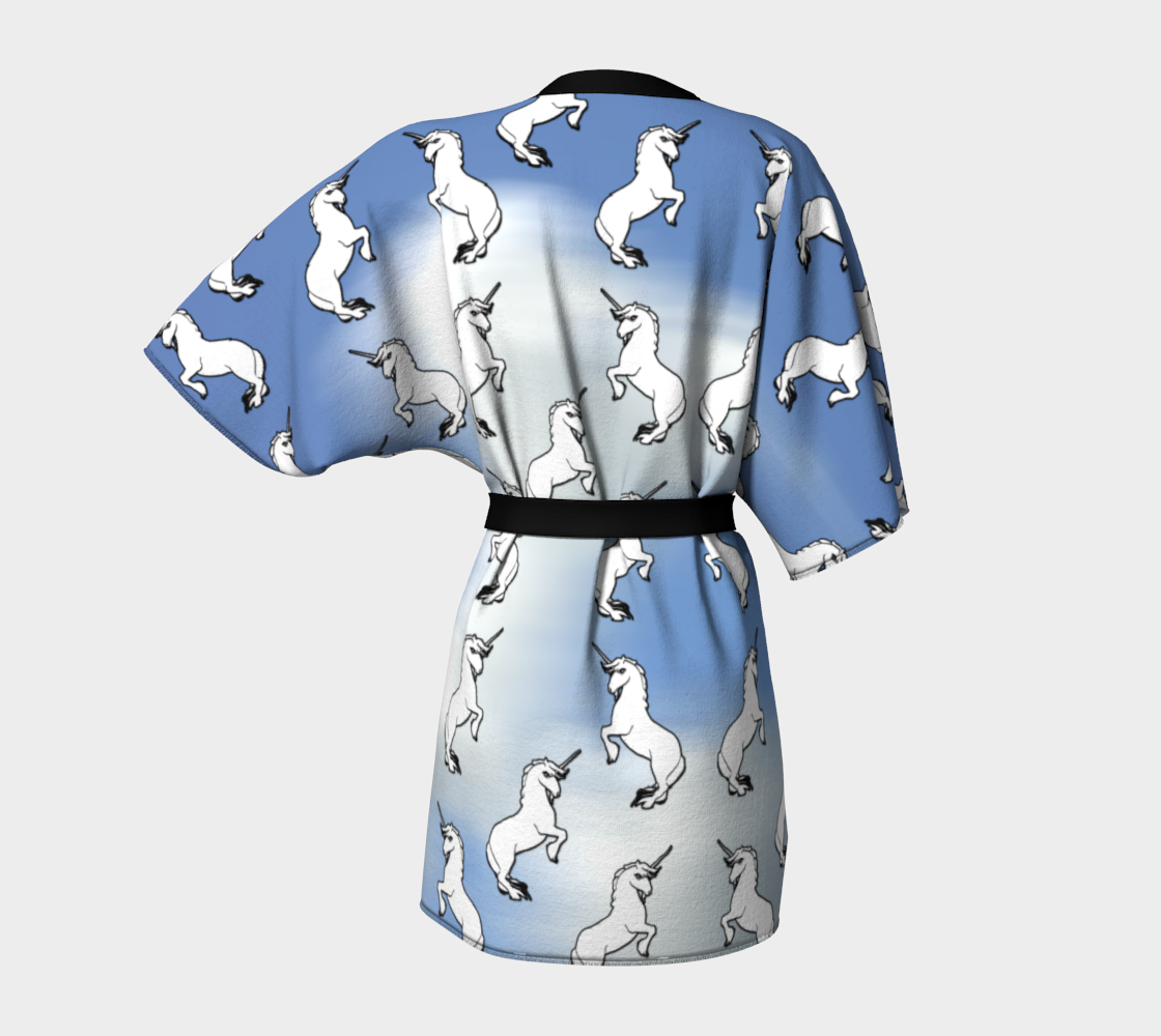 White Unicorns on White and Blue Sky preview #4